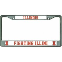 illinois fighting illini ncaa college logo chrome license plate frame us... - $28.49