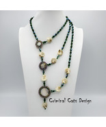 """Mother of Pearl Necklace Asymetric Three Strand """"Florence by Night"""" - $59.50"""