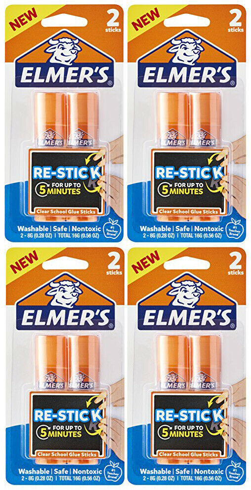 Lot of 8 Elmer's Re-Stick School Glue Sticks Washable Nontoxic , 0.28-Ounces
