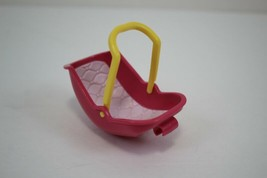 FISHER PRICE Loving Family Dollhouse Pink & White Baby Car Seat Carrier - $3.95