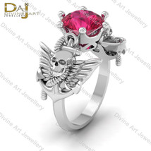Solid 14k White Gold Pink Ruby Skull Goth Pirates Witchy Engagement Ring... - £640.17 GBP