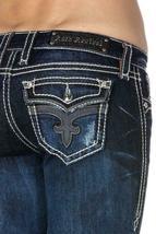 Rock Revival Women's Premium Boot Cut Dark Denim Rhinestone Jeans Ena B19 image 4