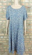 LuLaRoe Dusty Blue Beige Abstract Print Shift High Low Laganlook Shirt D... - $15.90