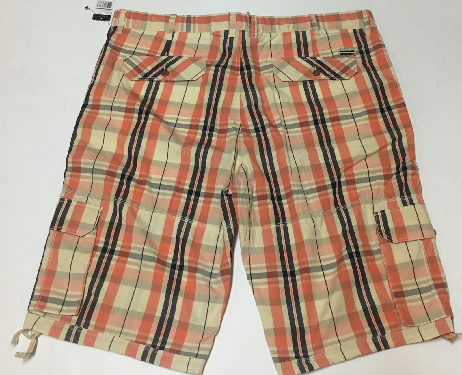 """Sean John Plaid Cargo Shorts Coral Non Denim Sz 42 Inseam 13"""""""