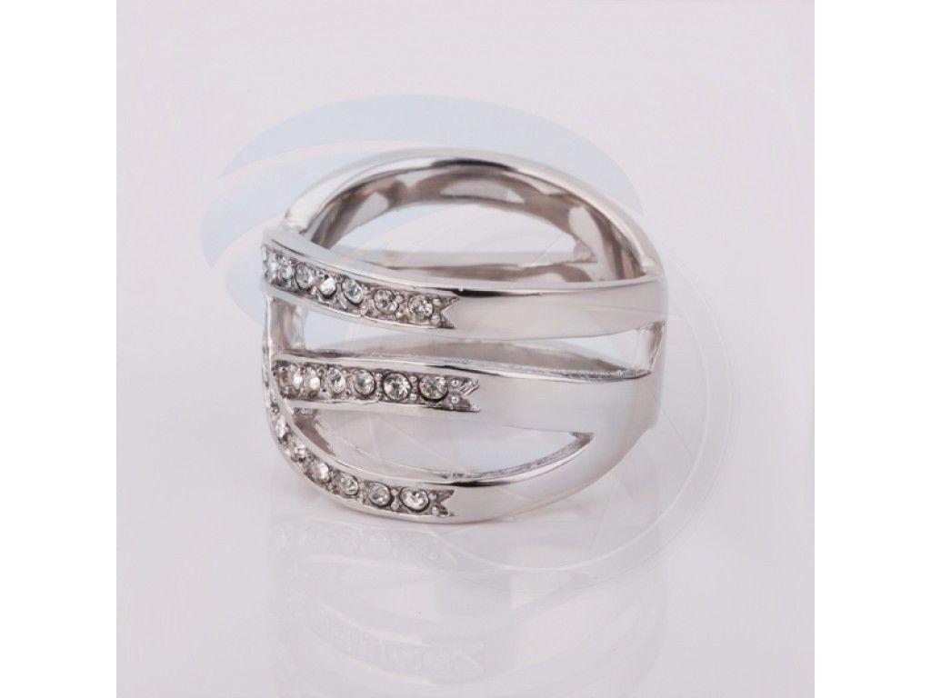 Size7 Ashbury Metal 18K White Gold Plated Rhinestone Crystal Lady Ring
