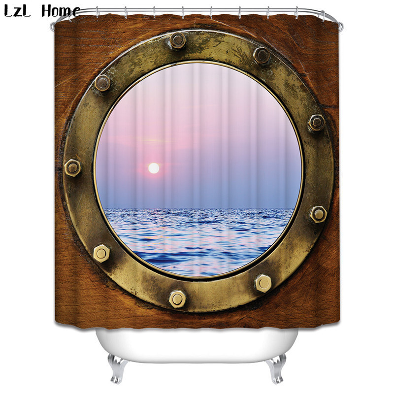 Window Ship Shower Curtain Waterproof Polyester Fabric For Bathroom Decor