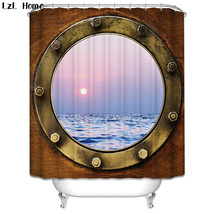 Window Ship Shower Curtain Waterproof Polyester Fabric For Bathroom Decor - $33.30+