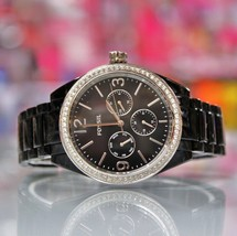 New FOSSIL BQ3342 Chronograph Glitz Black Acetate Bracelet Women Watch - $106.92