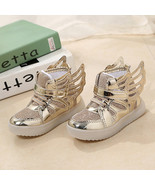 Light up Winged girls or boys Gold sneakers Anti-Slip unisex  casual spo... - $39.99