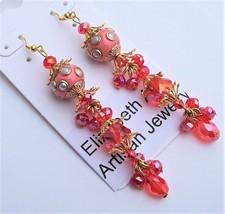 Pink Tibetan Focal Beads &  Crystals - Dangle Earrings - $22.43