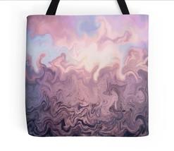 Tote bag All over print Design 51 pink powder blue twists digital art L.... - $29.99+