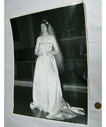 "Vintage Mid-Century Women Bride Large 14""X11"" Black & White Church Weddi... - $9.38"