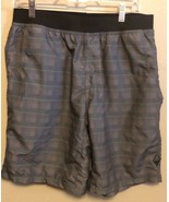 Prana Mojo Shorts Mens Large Gray Green Plaid Yoga Workout Climbing Hiking - $21.28