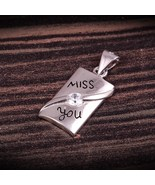 Miss you etched Silver Pendant in Sterling Silver, Delicate pendant - $23.00