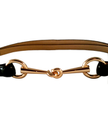 St. Germain Gold Horsebit Belt Black Genuine Leather Adjustable - $49.00