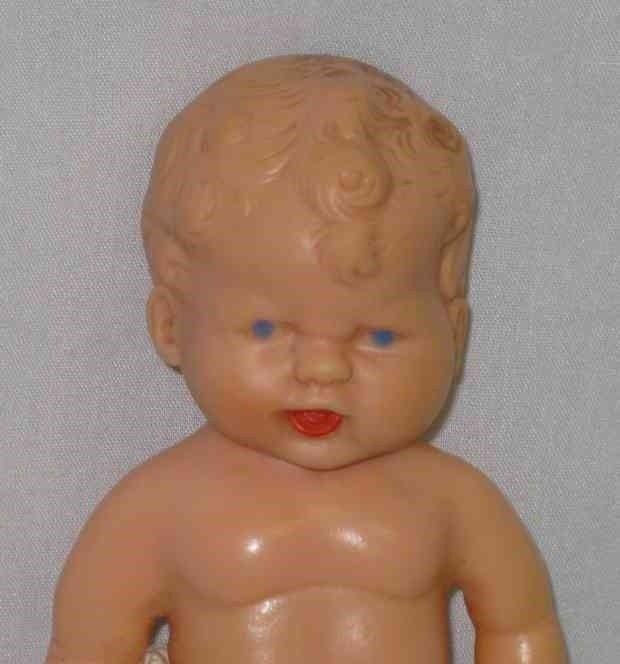 "SO CUTE Vintage 6 1/2"" Plastic BOY Doll Sweet Face"