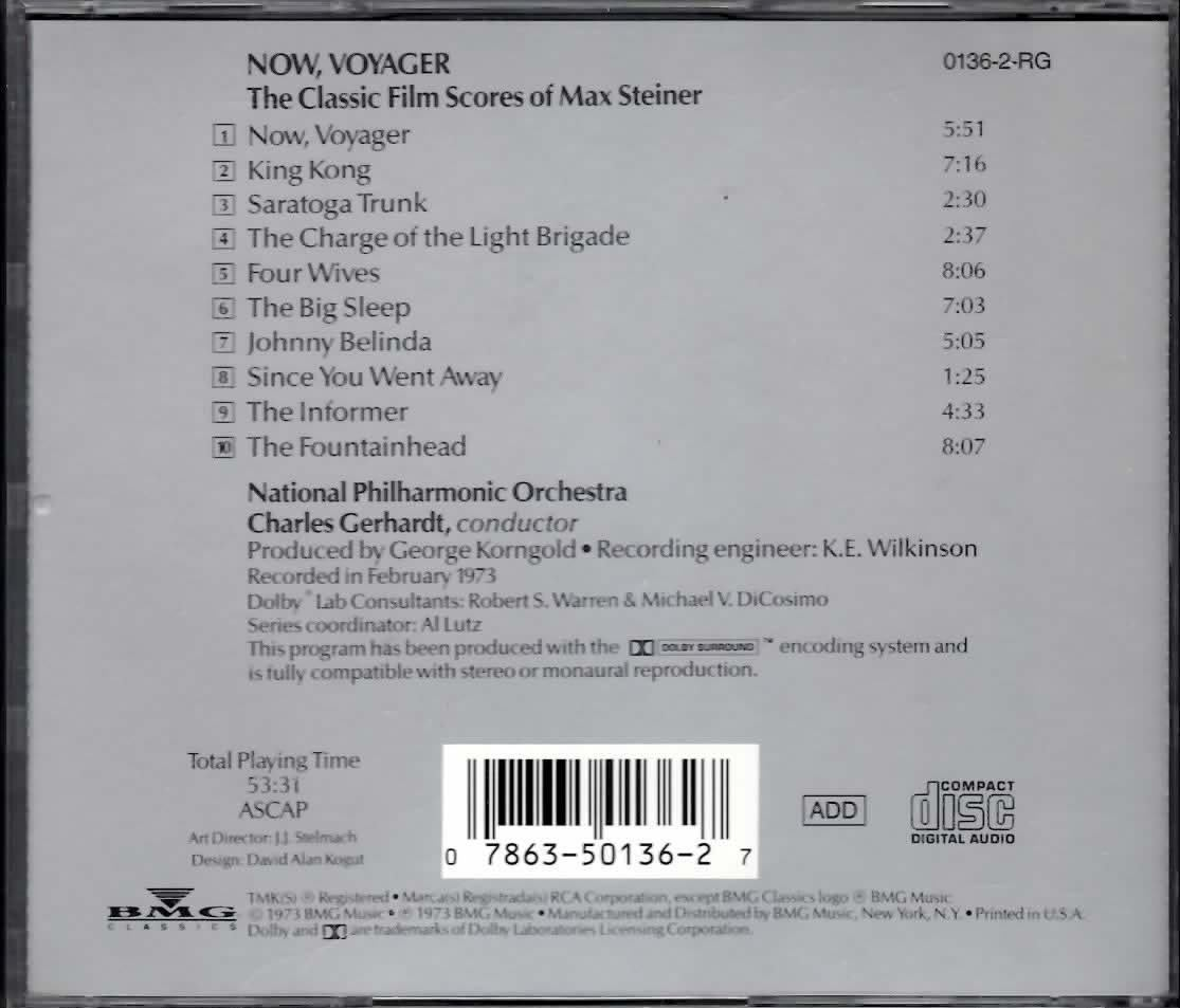NOW VOYAGER CLASSIC FILM SCORES OF MAX STEINER CD