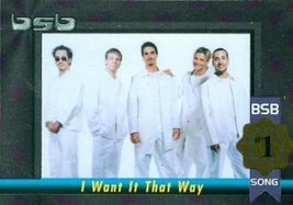 Backstreet Boys trading card (#1 Album/Song I Want It That Way) 2000 Win... - $4.00