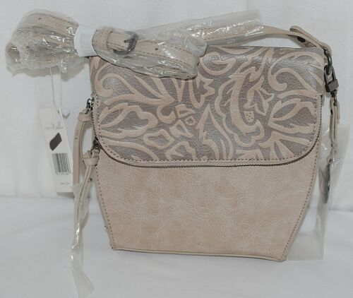 Simply Noelle Brand Beige Taupe Color Floral Leaf Pattern Womens Purse
