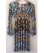 B Relaxx Dress Size Medium Mixed Print Brown Yellow Blue - $24.75