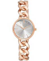 I.N.C. Women's Rose Gold Tone Cuban Chain Crystal Dial Bracelet Watch 30mm NEW