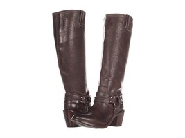 NEW Frye Carmen Harness Tall High Boots Dark Gray / Brown sz 5.5 - $99.99