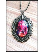 Gothic medieval glass dome pendant red fire breathing dragon in bronze w chain - $14.80