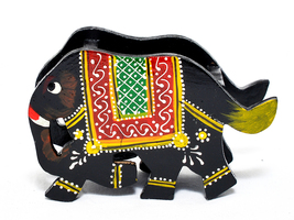 Wooden Elephant Shaped Mobile Remote Display Stand Multipurpose Storage ... - $18.95