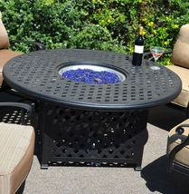 Outdoor fire pit propane table 5 pc dining set patio furniture Nassau aluminum image 3