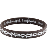 JOHN 3:16 GIFTS CROWN OF THORNS SILICONE BRACELET WITH FOR GOD SO LOVED ... - $14.39