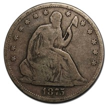 1875S Seated Silver Liberty Half Dollar 50¢ Coin Lot# MZ 4597