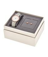 New Fossil Women Neely White Leather Strap Watch & Heart Earring Set ES4383 - $105.62