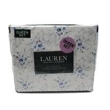 Lauren Ralph Lauren 4 PC Queen Sheet Set Cottage Chic Floral Blue White - $109.95