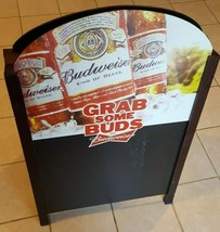 Budweiser Double Sided Chalk Board Sidewalk Sign 36 x 26 Grab Some Buds Man Cave - $123.75