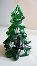 Mosser Glass Hand Painted Poinsettia on Hunter Green Mini Christmas Tree - $22.00