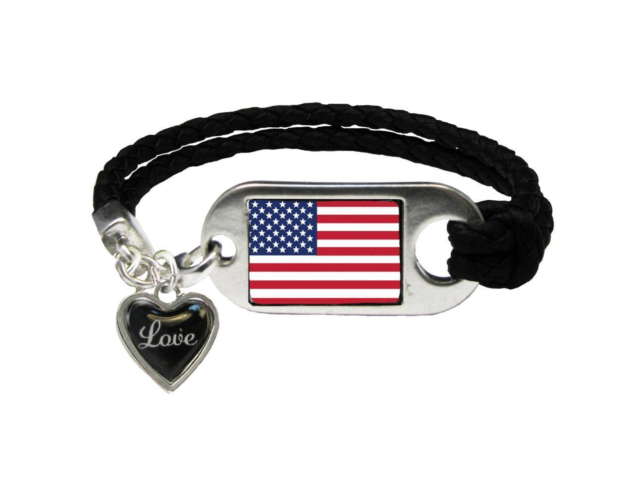 Primary image for American Flag Love Heart Black Leather Bracelet Jewelry Patriotic Veteran Gift