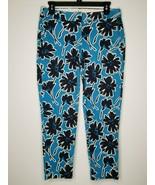 J Crew Womens Floral Capri Stretch Blue White Cropped Pants Size 2 - $16.99