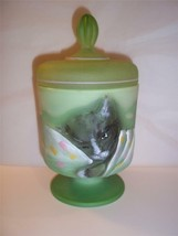 Fenton Glass CHAMELEON Green TABBY Chessie CAT Box Jar #8/28 Ltd Ed Even... - $145.02