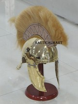 Brass greco roman helmet with brown crest - $197.01