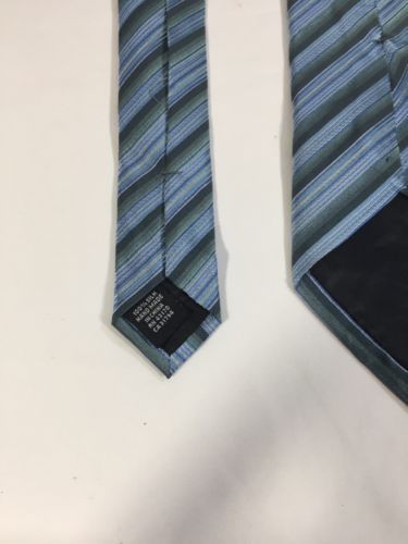 Alfani Men Light Blue Tie Silk Black Striped Size 58 Length 3 Inches width image 7