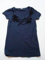 J Crew T Shirt Navy Floral Embellished Scoop Neck Size Extra Small Women... - $17.47