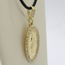 18K YELLOW GOLD ZIRCONIA MIRACULOUS MEDAL VIRGIN MARY MADONNA MADE IN ITALY image 2