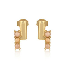 Pink and Ethiopian Opal Gemstone Bar Design Gold Plated 925 Silver Stud ... - $22.77