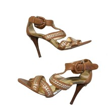 MICHAEL KORS Women's Sz 6 Strappy Heels Sandals Shoes Brown Leather Embe... - $31.76
