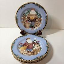 "4 Salad Plates Sakura Woodland Santa Firewood Animals 8"" Debbie Mumm - $15.47"
