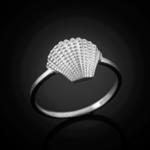 14K Dainty White Gold Seashell Conch Ladies Ring - £91.25 GBP