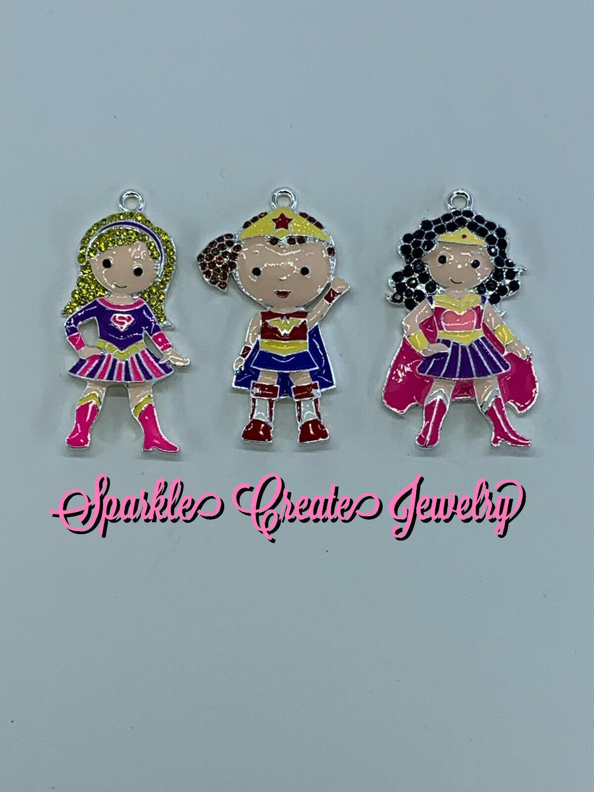 Super Hero Girl Rhinestone Pendant