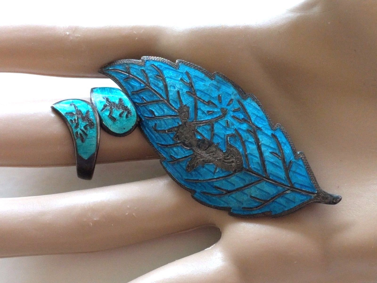 2 VINTAGE TURQUOISE ENAMEL SIAM STERLING SILVER LEAF PIN RING LOT