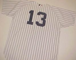 New York Yankees Alex Rodriguez 13 MLB AL White Blue Vintage Pinstripe Jersey 48 - $64.34