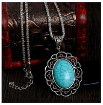 Oval Turquoise Pendant Necklace  With Chain, Antique Silver Vintage Style - $3.99